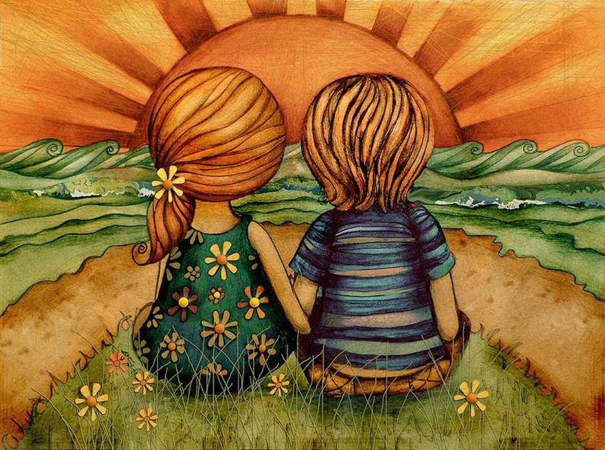 Niños mirando al horizonte de Karin Taylor